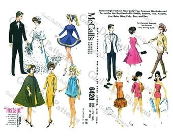 McCalls Pattern 6420 for Barbie Four-Season Wardrobe & Ken's Tuxedo