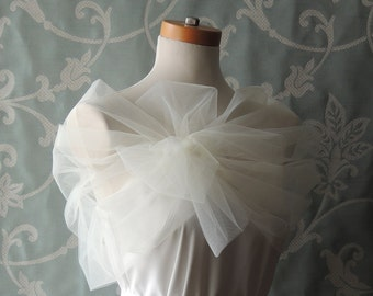 Ivory Bridal Cover Up Shawl, Bridal Wrap, Ivory Bridal Shrug, Ivory Cover Up, Tulle Cover Up, Tulle Bridal Shawl, Ivory Coverup, Tulle Shrug