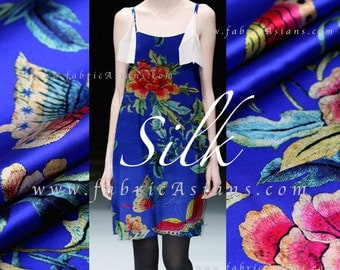 Butterflies Printed. Royal Blue Stretch Silk Fabric SSB101358
