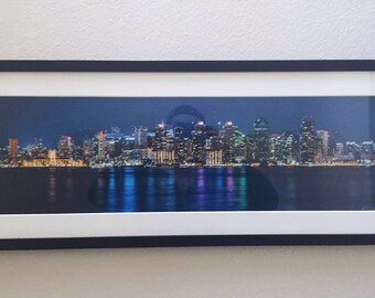San Diego Skyline Panoramic Framed Fine Art Print - 12x36