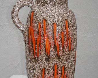 Orange 70s Scheurich lava - handle vase