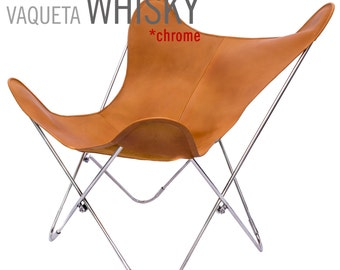 100% Handcrafted Original Butterfly Vaqueta Leather Chair w/Chrome Frame from Argentina (Big BKF)
