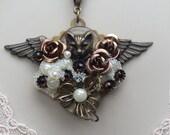 Pet Memorial Pendant/Cat Necklace/Cat Pendant/Angel Wing Necklace/Vintage Buttons/Collage Necklace/Angel Cat Necklace, Cat Memorial Pendant
