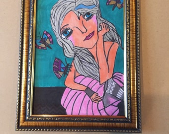 Framed 5x7 drawing of girl with butterflies