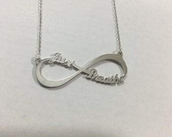 Personalized Infinity Necklace Two Name Necklace Silver Infinity Name Necklace Love Has No End Love Jewelry