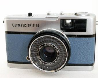 Olympus Trip 35 in Blue Leather