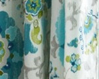 Floral Curtains Suzani Curtains Medallion Curtains Braemore Silsila Poolside Panels  Medallion Curtains Blue Grey Curtains ONE PAIR