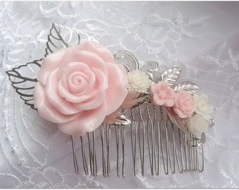 Pink and ivory resin flower wedding hair comb,floral wedding hair comb,bridesmaid hair comb,silver hair comb,bridal hair comb,prom hair comb