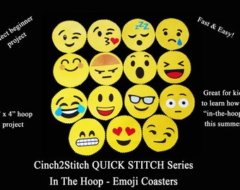 """Quick Stitch Emoji Coasters - In The Hoop - Machine Embroidery Design Download (4"""" x 4"""" Hoop), Vinyl or Recycled Denim"""