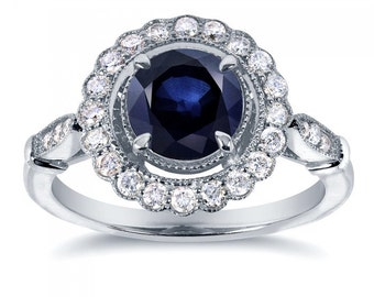 Antique Sapphire and Diamond Floral Ring 1 1/3 CTW in 14k White Gold