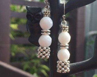 White Alabaster bead Earrings