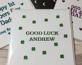 Good Luck glitter papercut card