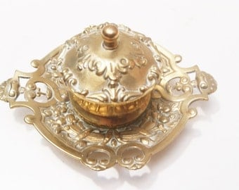 Antique Solid Brass Art Nouveau Single Inkwell  Fully lined