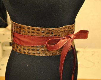 Marsala obi belt Brown leather obi belts Obi belts under aligators leather Aligators belt