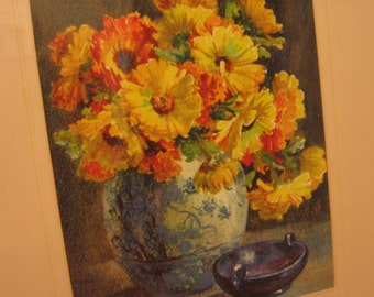 Vintage Framed Watercolor Print Yellow and Orange Mums, Signed Therese Lemoine Lagron, Wooden Frame