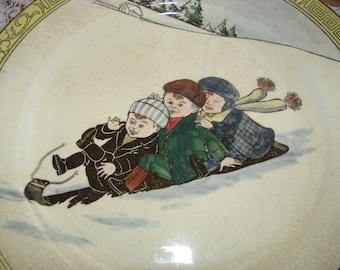 Sale - 2 Royal Doulton Plates - Kids on Sleighs, Vintage
