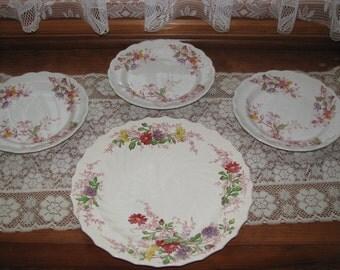 Sale -Copeland & Staffordshire set of four plates, Vintage