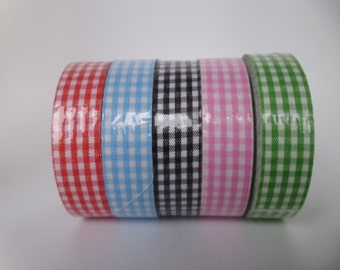5 Rolls Cotton Fabric Adhesive Tape Decorative Gingham