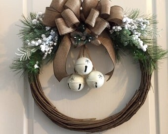 Christmas Wreath, Grapevine Christmas Wreath, Jingle Bell Door Wreath, Grapevine Wreath