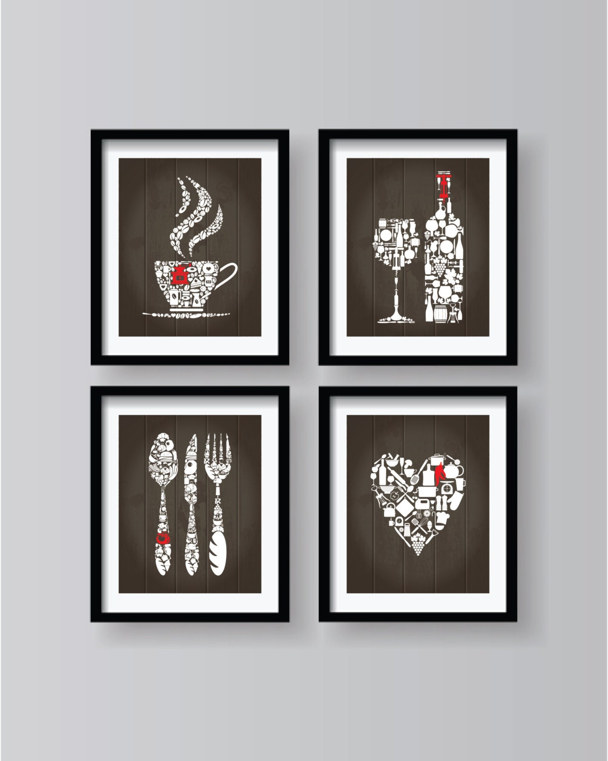 White brown with red kitchen decor white red kitchen wall for Red kitchen wall art