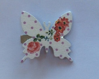 Large wooden floral butterfly crocodile style hair clips, new, handmade