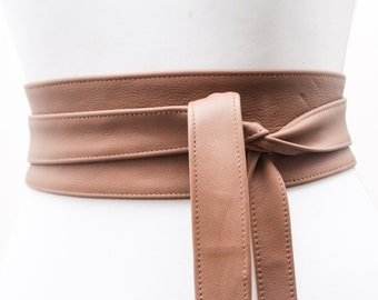 Tan Camel Obi Belt | Waist Belt | Leather Obi belt |  Leather Belt | plus size accessory | Corset Belt | Tan Belt | Tie Belt | Sash Belt