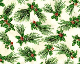 Suite Christmas Fabric Metallic Pine with Holly Berry 2787 & 2789