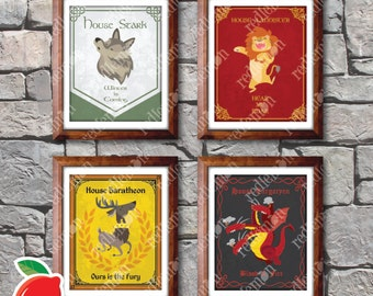 Set of 4 Child Friendly Style Game of Thrones GoT Themed Art Prints