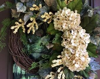 Hydrangea Wreath, Front Door Wreath, Ivory hydrangea Wreath, Summer Wreath, Neutral Wreath