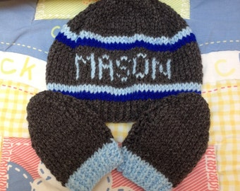 Personalised hat and mitts 'MASON' 0-3 months