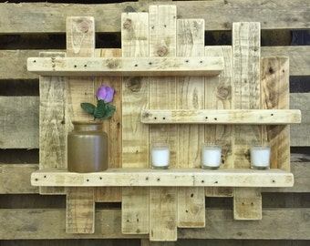 Pallet Wood Rustic Shabby Chic Shelf Shelving Display Reclaimed Wood Handmade