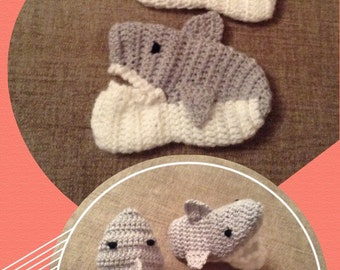 Crochet shark slippers