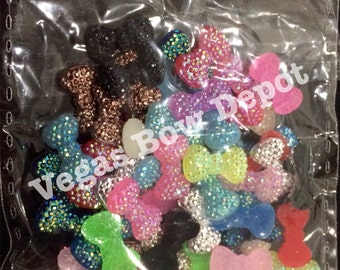 60 piece-12mm mini ab resin bows-flatback cabochon