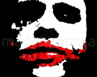 Hand Painted Batman Heath Ledger The Joker Stencil Art on Canvas