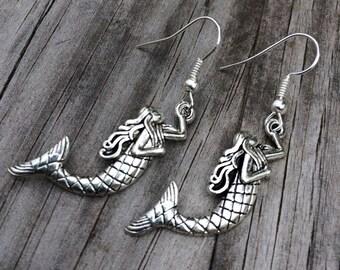 Simple Mermaid Earrings, Nautical Earrings, Charm Earrings