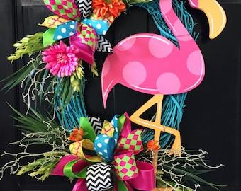Flamingo Colorful Wreath, Door Decoration, Summer Door Decor