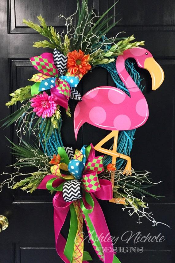 Flamingo colorful wreath door decoration summer door decor for Colorful summer wreaths