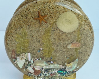Retro Lucite Napkin Holder with Embedded Sand, Shells and Starfish
