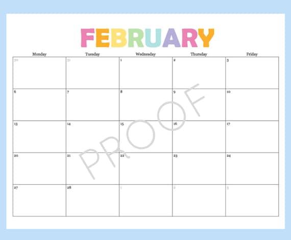 Printable Calendar 5 Day Calendar 5 Day Weekly by ...