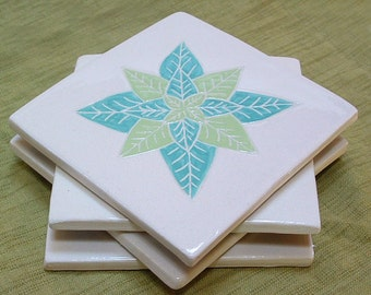 Tile Coaster set of 4, turquoise &  lime green leaf/tile coasters /gift set