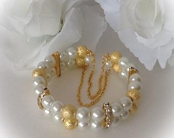 Golden Pearl Bridal Cuff Bracelet