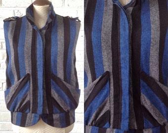 Vintage 80's Blue Grey Black Striped Bomber Style Vest. Sz M