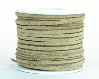 Suede Lacing - (1) 25 yard (75 foot) spool, 1/8th inch lace. Beige Suede lace.