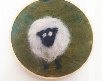 Sheep Folk Art - Needle Felted Hoop Art - Wall Art - Fiber Art