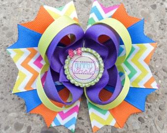 Little Girls Hair Bows - Bottle Cap Bows - Chevron Print Hair Bow - Mommys Girl Hairbow - Bright Hairbows