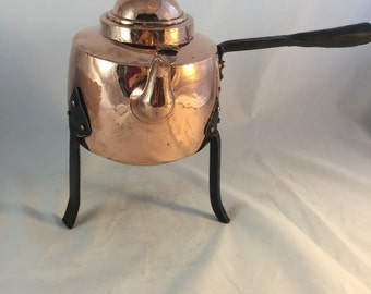 Antique Copper Kettle On Stand From Sweden
