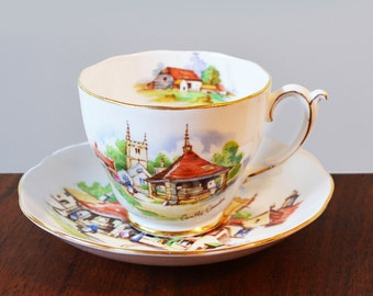 Roslyn China teacup with saucer, Beautiful Britain Series 'Castle Combe', made in England. Number 2 in series of 6
