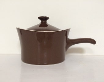 Mid Century Brown and Cream Ceramic Handled Pot - Vintage Ceramic Fondue Pot