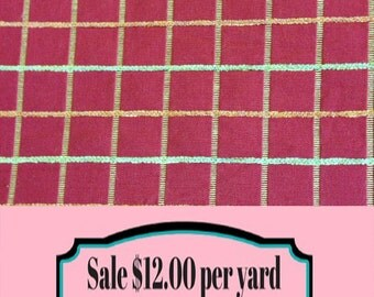 FABRIC SALE!!!  Red Green and Yellow Check Upholstery Fabric - Fabric By The Yard