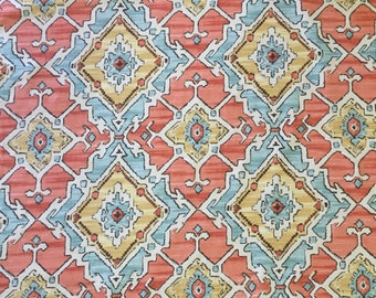 Coral And Aqua Blue Tribal - Sundance - Tangerine Fabric